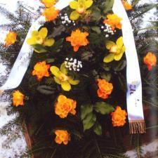 Kwiaty pogrzebowe pomarańczowo-żółte